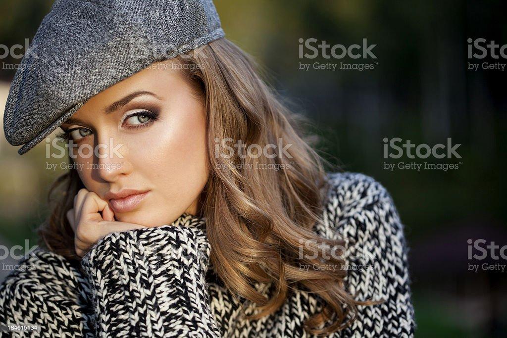 Autumn portrait of beautiful woman royalty-free stock photo