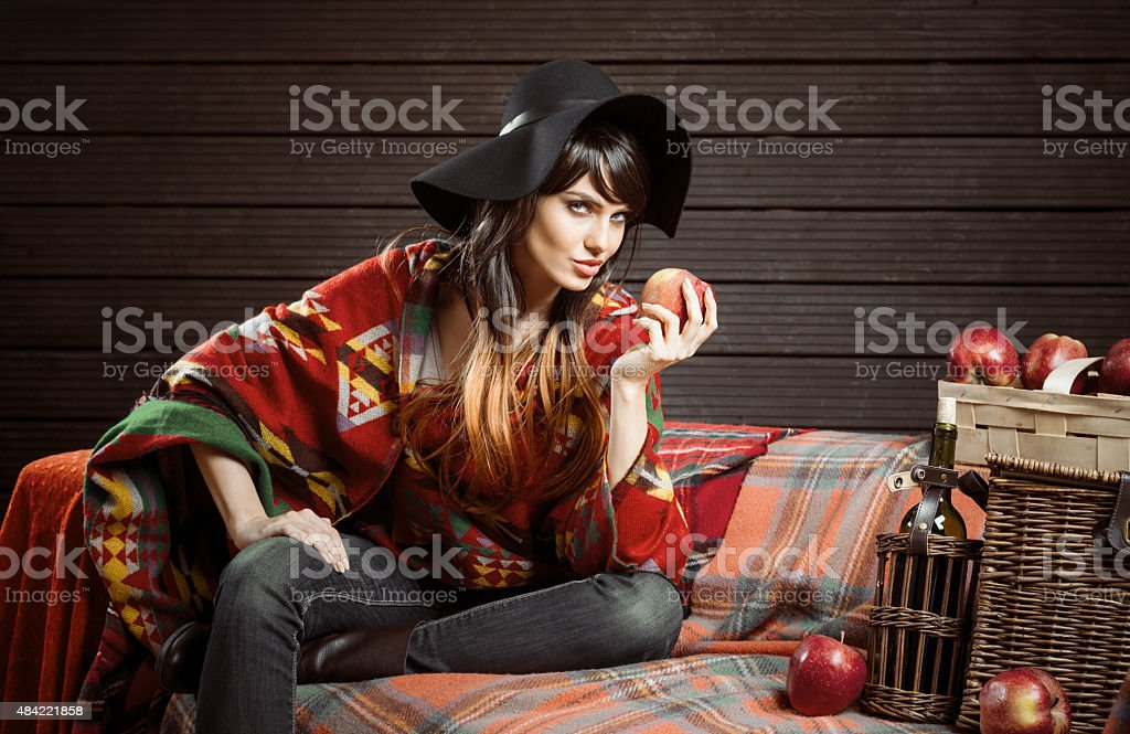 Autumn portrait of young woman wearig in boho style stock photo
