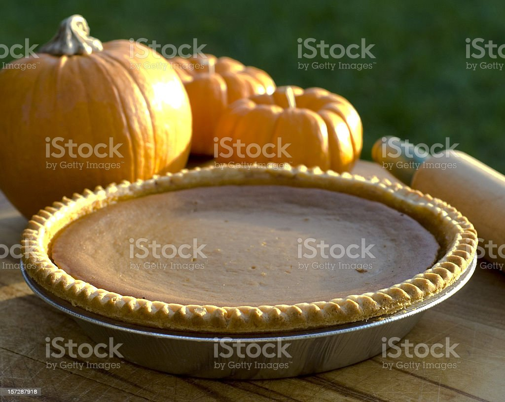Autumn Pumpkin Pie Thanksgiving Holiday or Halloween Baked Dessert Food royalty-free stock photo