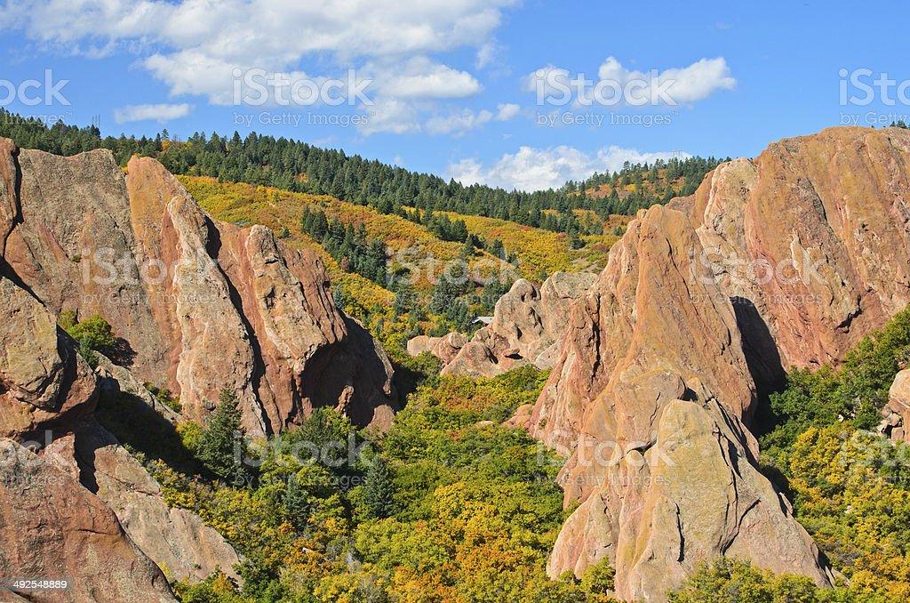 Autumn Red Rocks stock photo