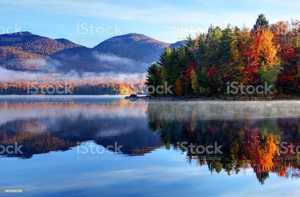 Early morning autumn in the Green Mountain National Forest in...