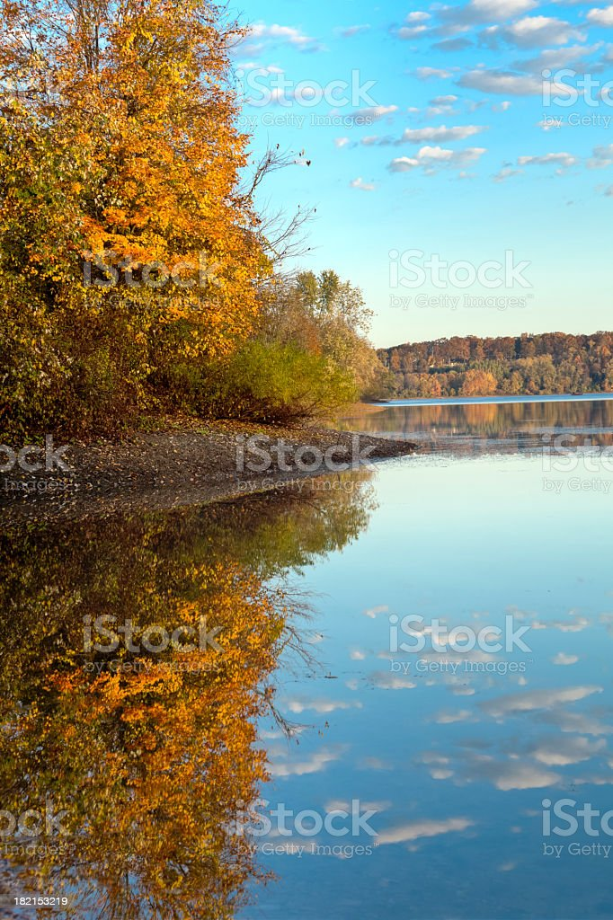 Autumn Reflection of Trees and Clouds stock photo