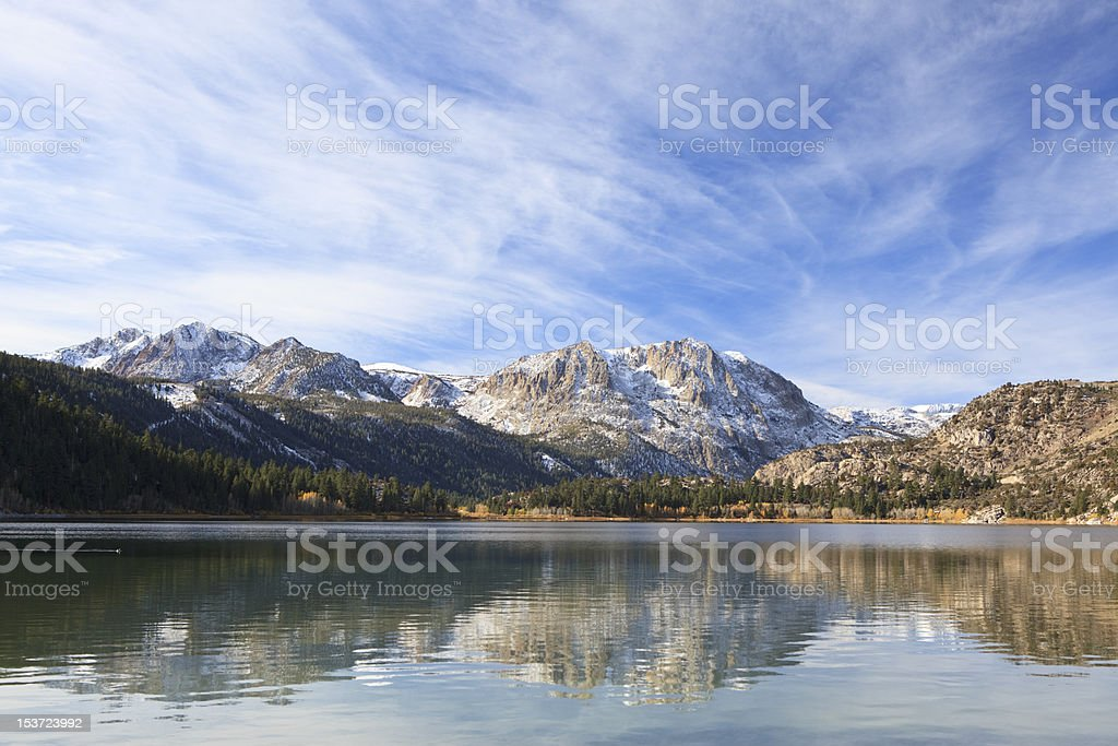 Autumn reflections at a mountain lake stock photo