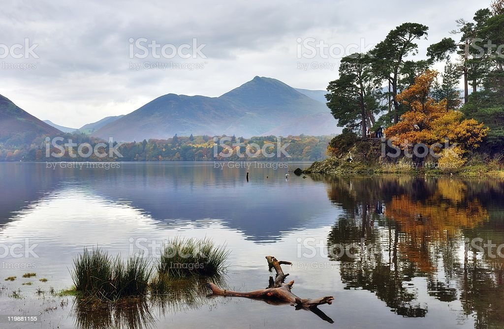 Autumn reflections at Friar's Crag stock photo