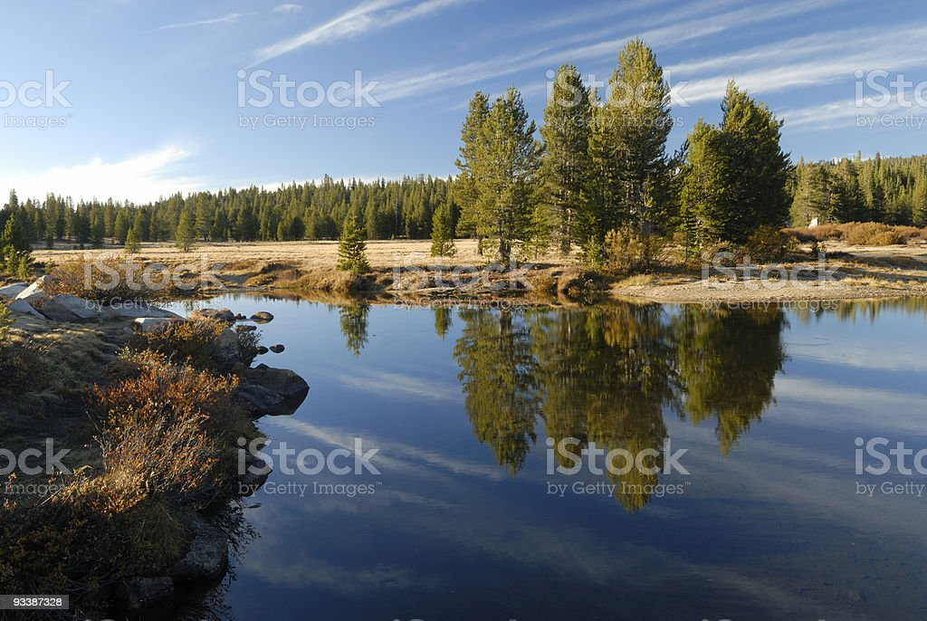 Autumn reflections at Tuolumne River in Yosemite stock photo