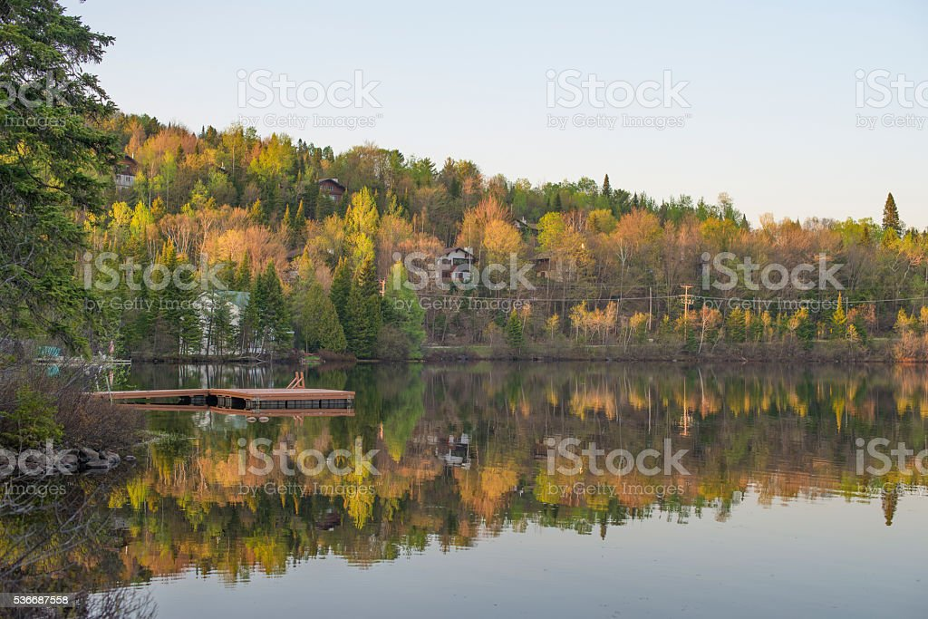 Autumn Reflections in a pond stock photo