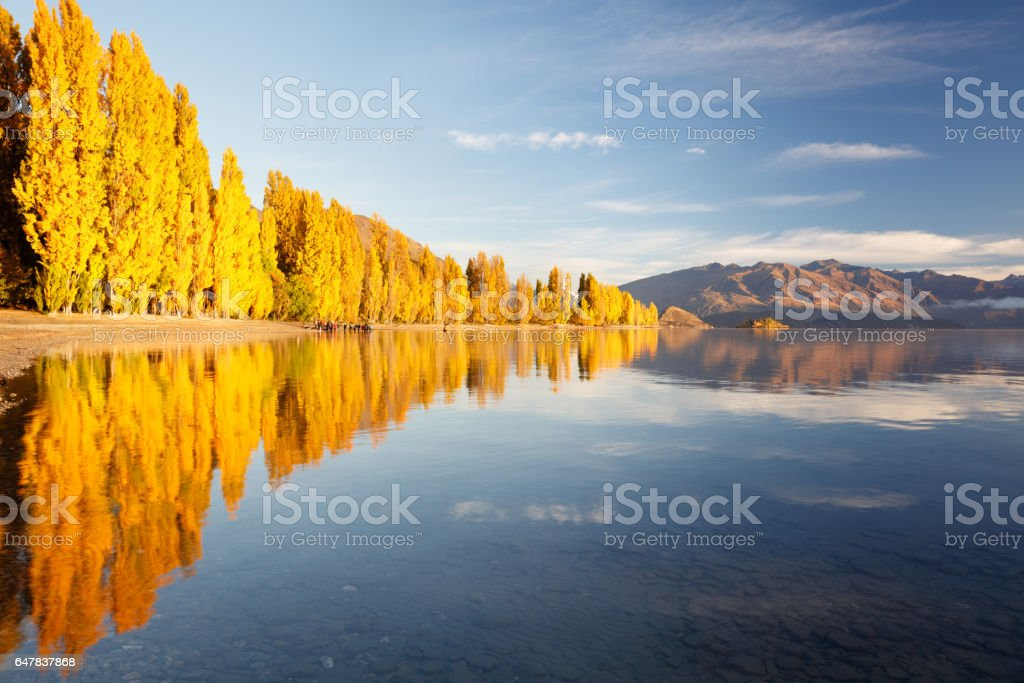 Autumn reflections in Lake Wanaka, New Zealand stock photo