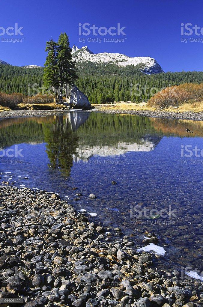 Autumn reflections in Tuolumne River of Yosemite stock photo