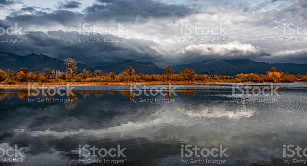 Autumn reflections, Koprinka Dam, Bulgaria stock photo
