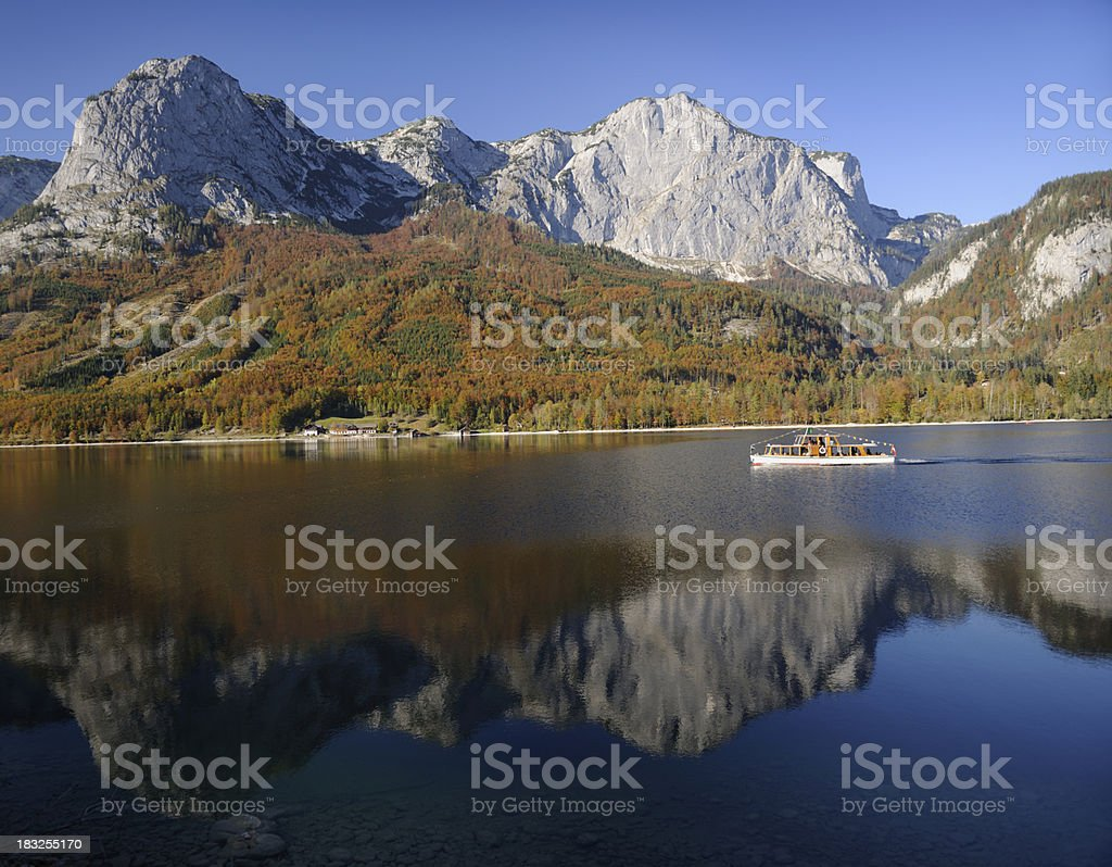 Autumn Reflections, Lake Grundlsee, Austrian Nature Reserve (XXXL) royalty-free stock photo