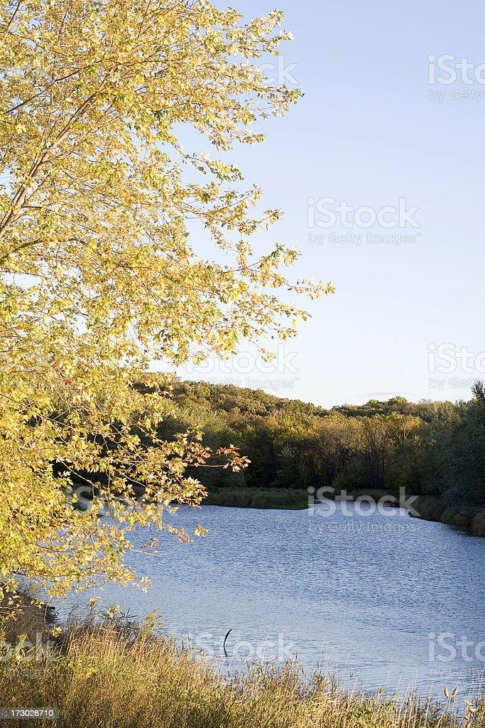 Autumn River Scene in Iowa royalty-free stock photo
