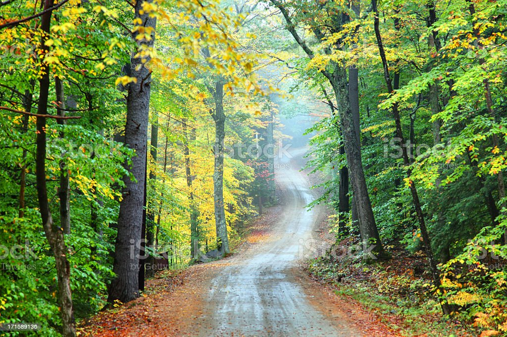 Autumn Road in New Hampshire royalty-free stock photo