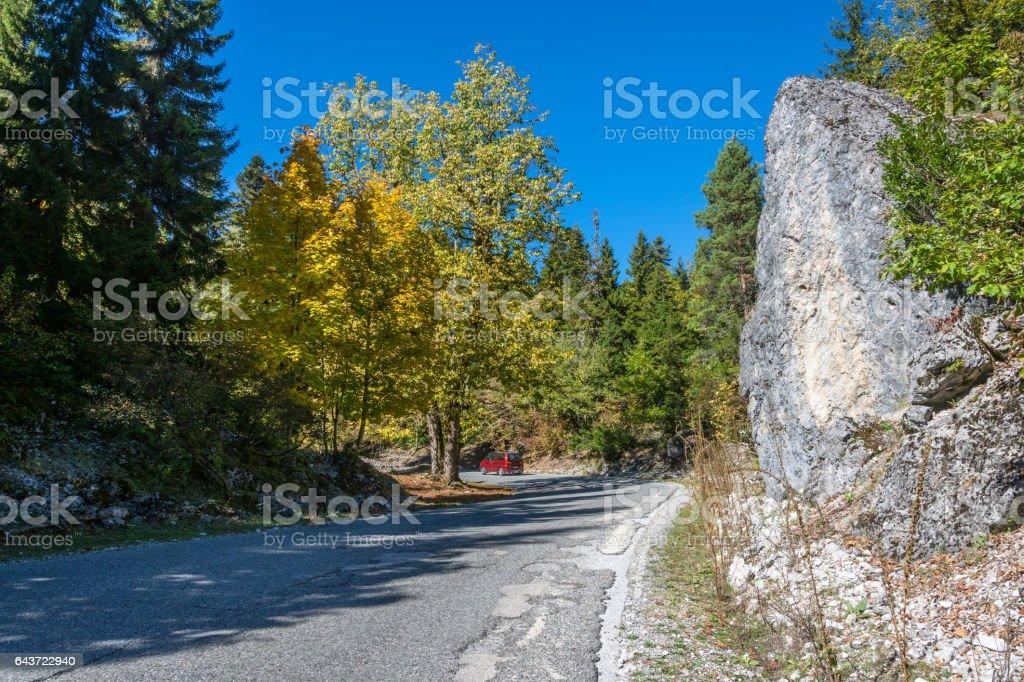 Autumn road in the mountains of Abkhazia. stock photo