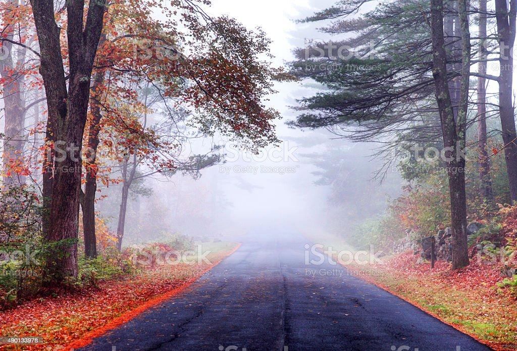 Autumn road in the Quabbin Reservoir Watershed region of Massachusetts stock photo