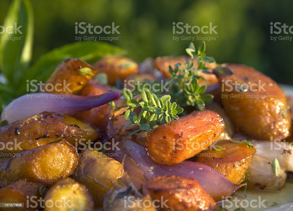 Autumn Roasted Root Vegetables: Carrots, Potatoes, Parsnips, Vegetarian Thanksgiving Food stock photo