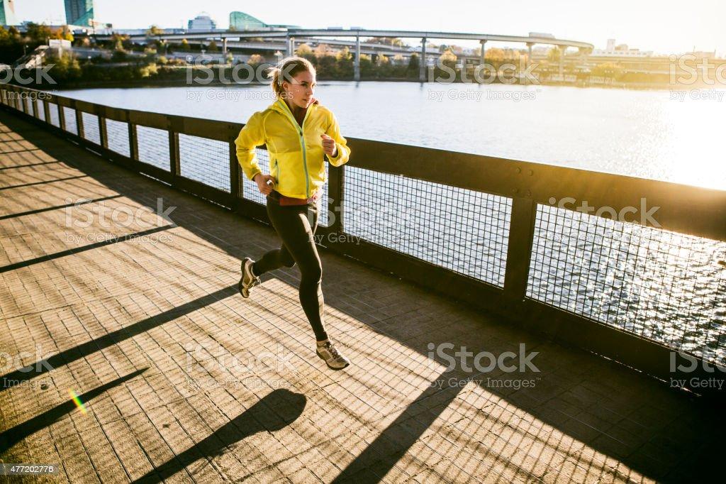 Autumn Run at Portland Waterfront stock photo