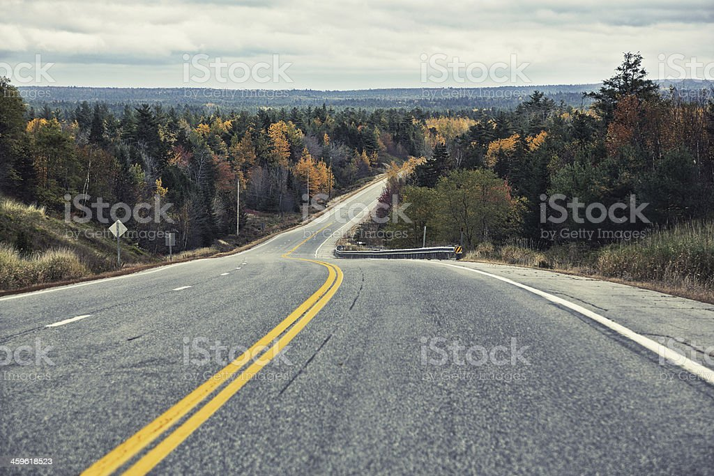 Autumn Rural Highway in Maine royalty-free stock photo