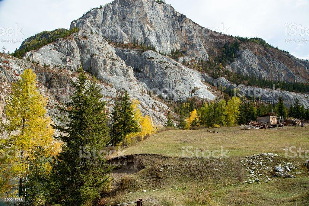 Autumn, Russia, Altai Mountains river Chuya stock photo