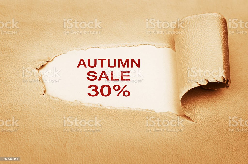 Autumn Sale thirty percent off stock photo