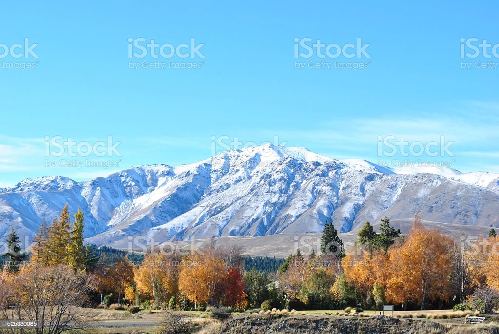 Autumn Scene in Lake Tekapo, South Island, New Zealand stock photo