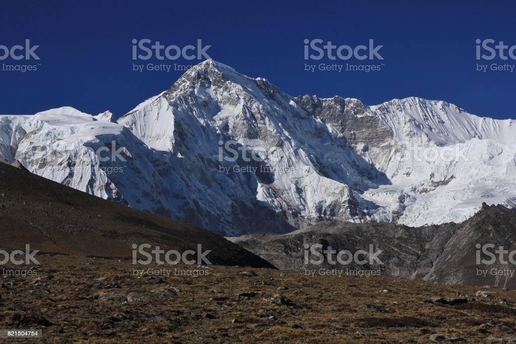 Autumn scene in the Everest National Park. High mountain Cho Oyu. stock photo