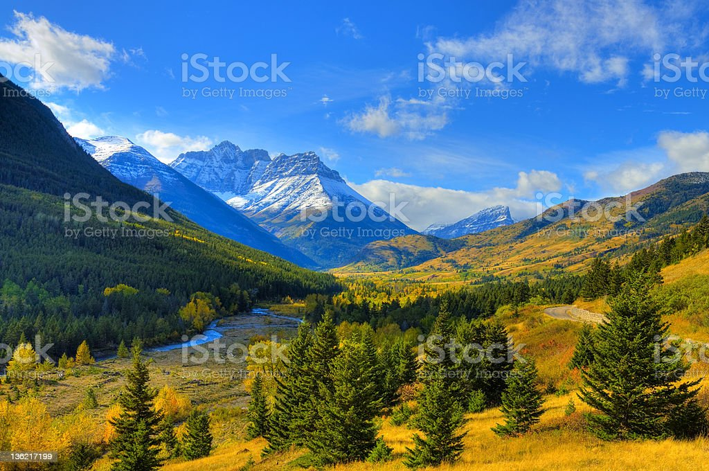 HDR Autumn Scene in the Valley royalty-free stock photo