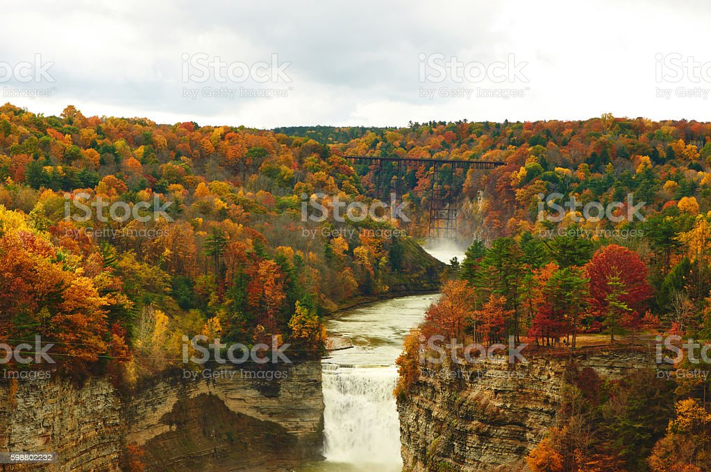 Autumn scene of waterfalls and gorge stock photo