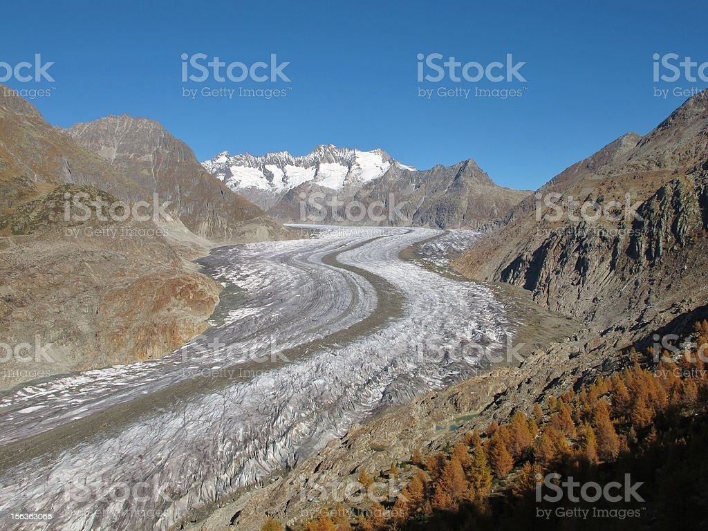 Autumn Scenery At The Aletschgletscher stock photo