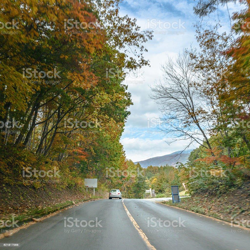 Autumn scenery of the Bandai Azuma Lake line stock photo