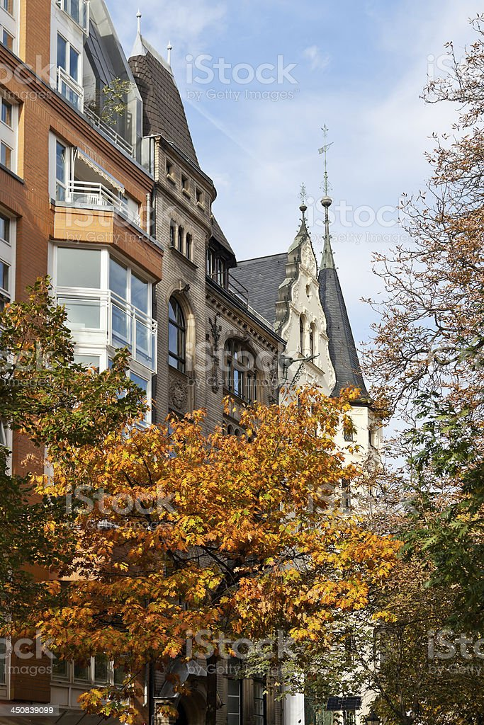 autumn scenery of western Berlin street royalty-free stock photo