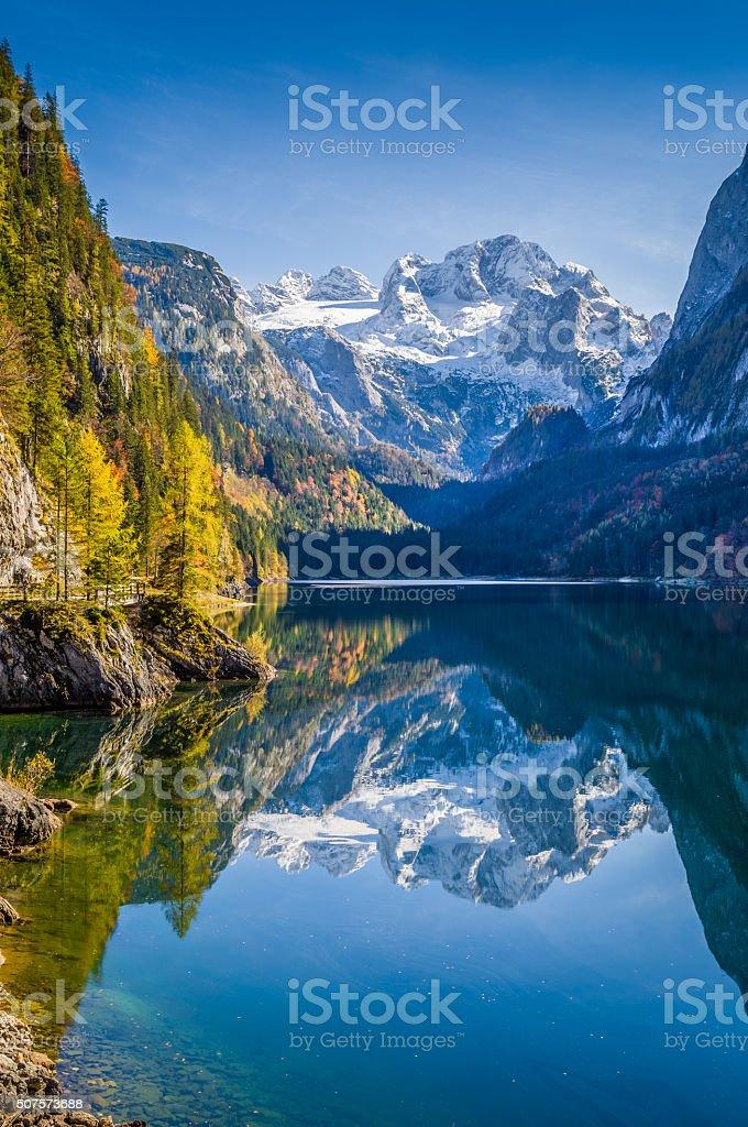 Autumn scenery with Dachstein mountain at Gosausee, Salzkammergu stock photo