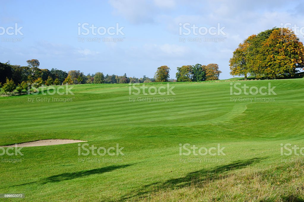 Autumn season on golf course stock photo