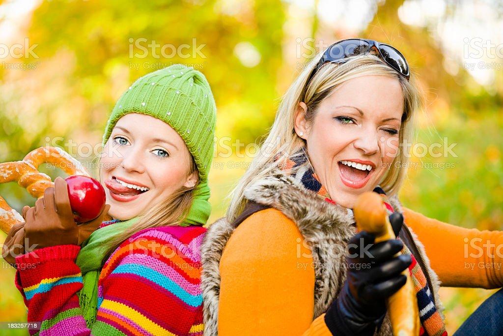 Autumn series: cheerful women stock photo