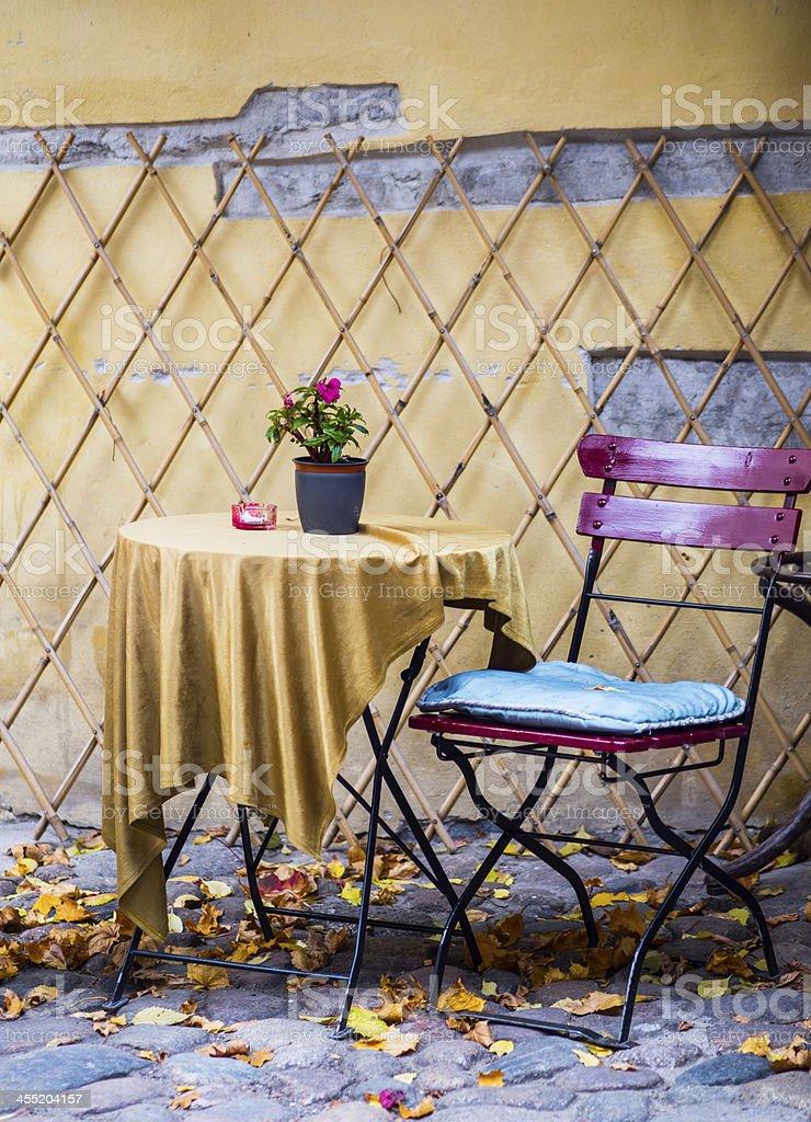 autumn sidewalk cafe royalty-free stock photo