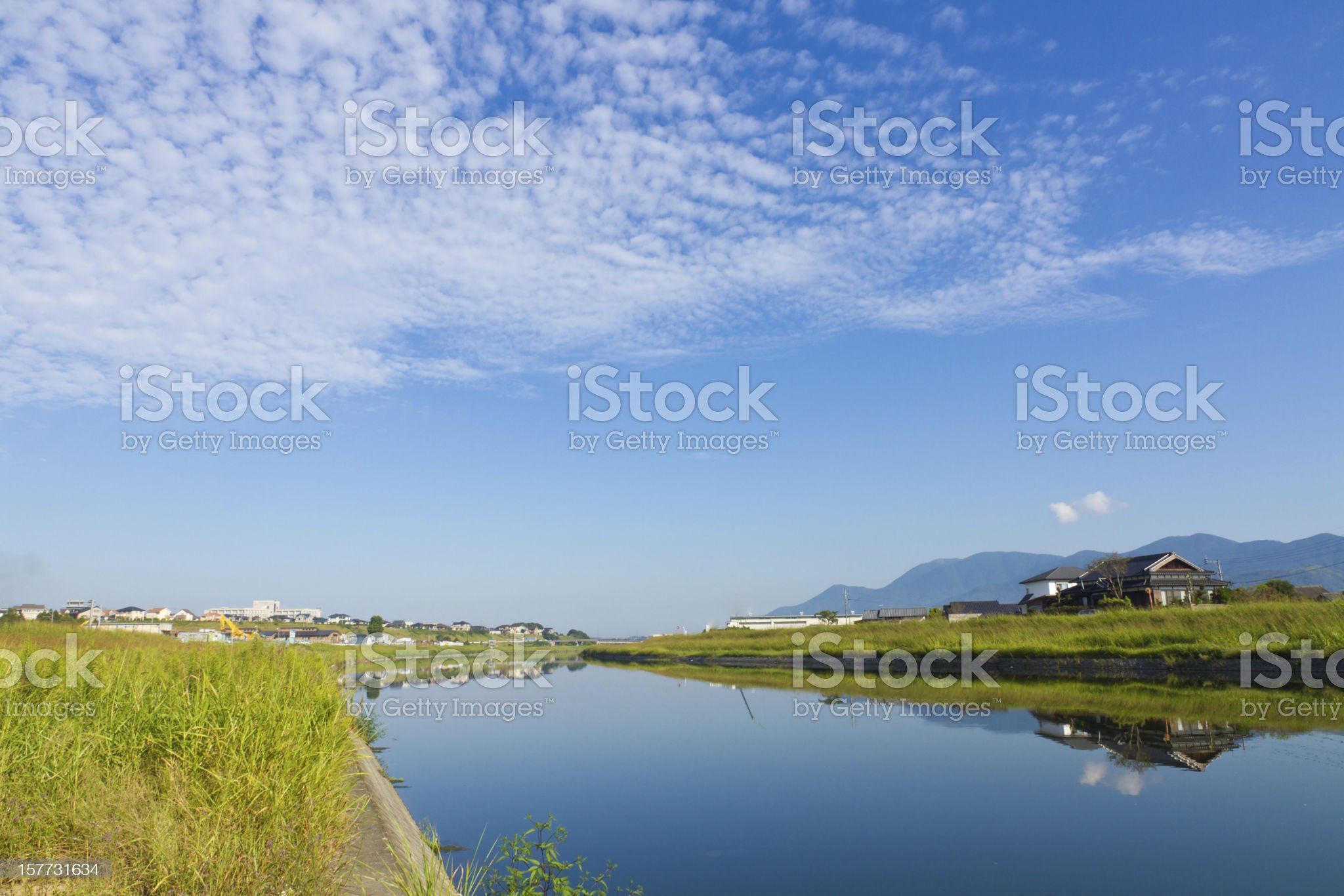 Autumn sky and the riverside royalty-free stock photo