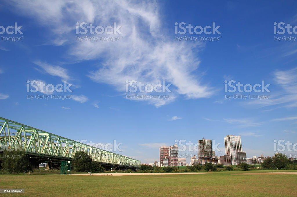 Autumn sky of Arakawa river stock photo