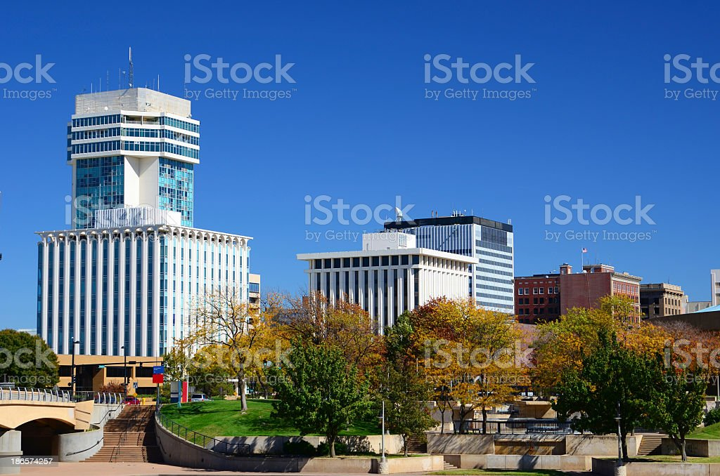 Autumn Skyline of Empty Downtown Wichita, Kansas stock photo