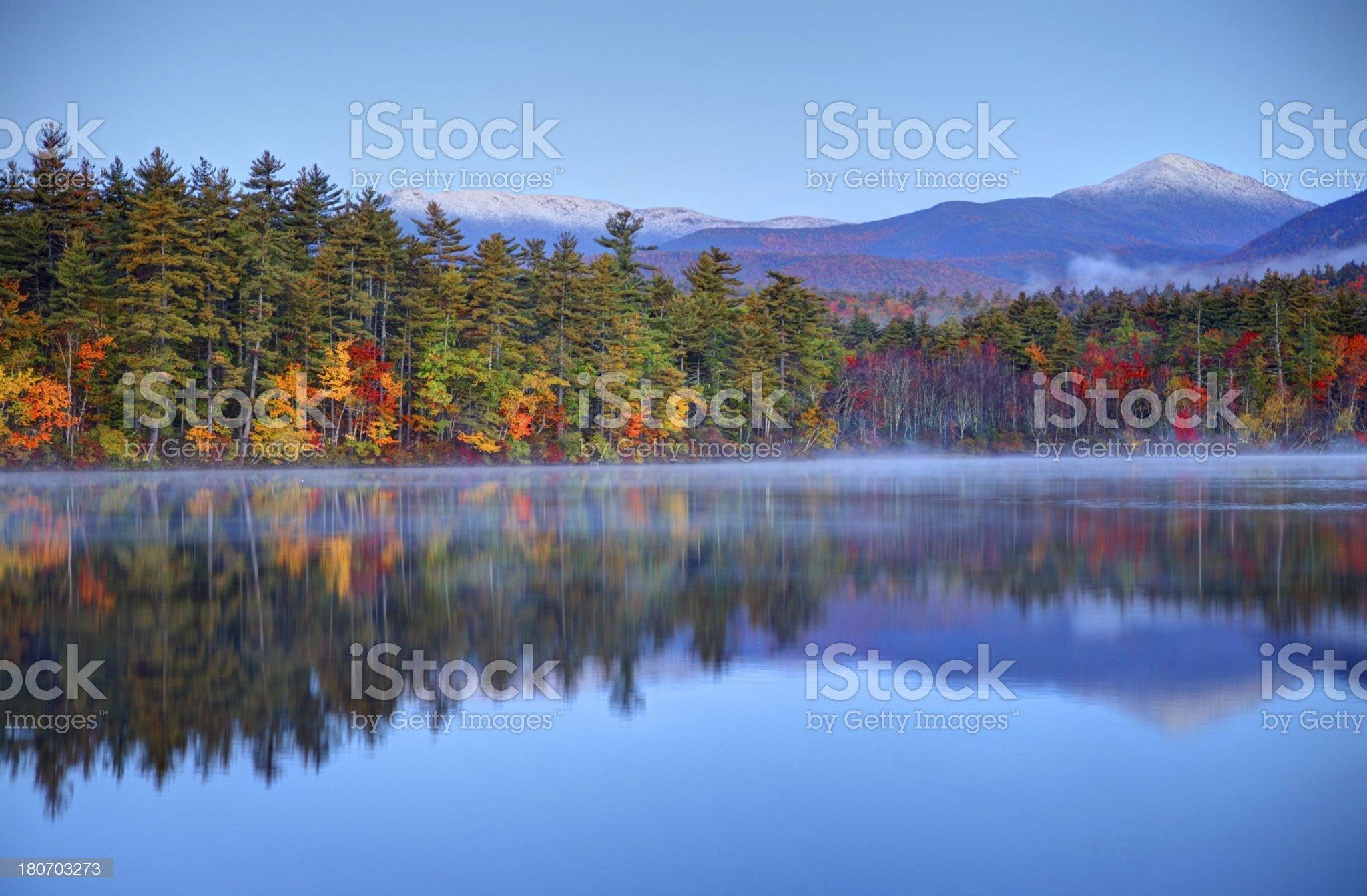 Autumn snowcapped White Mountains in New Hampshire royalty-free stock photo