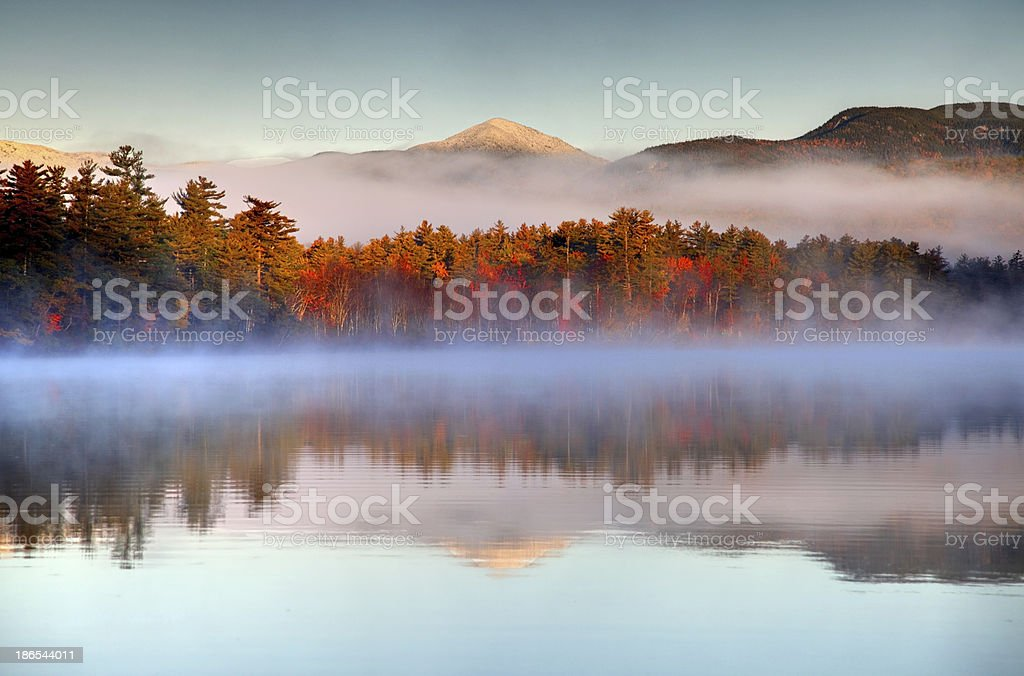 Autumn snowcapped White Mountains in New Hampshire stock photo