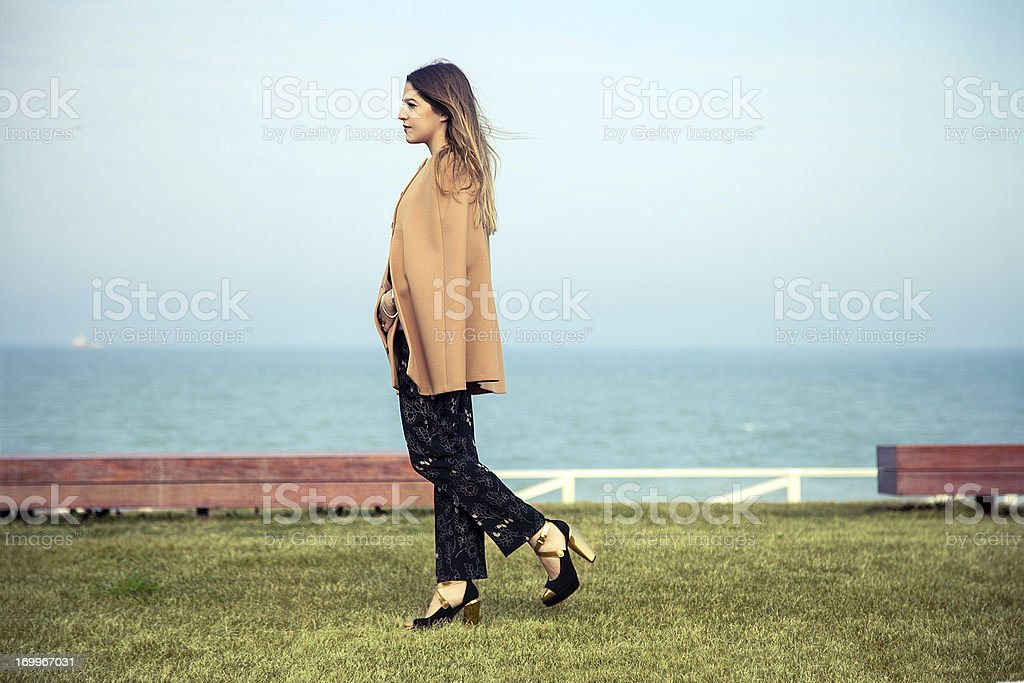 Autumn / Spring outfit on a beautiful woman stock photo
