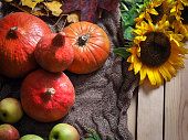 Autumn still life with pumpkins and sunflowers