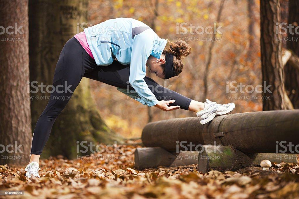 autumn stretching royalty-free stock photo
