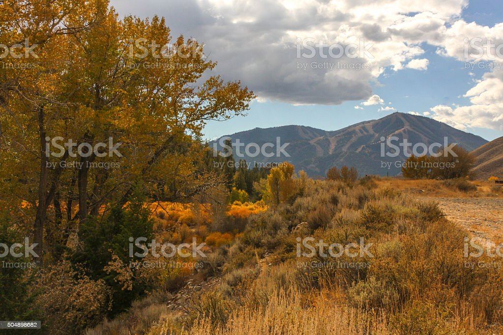 Autumn Sunlight kisses the foothills in Sun Valley stock photo