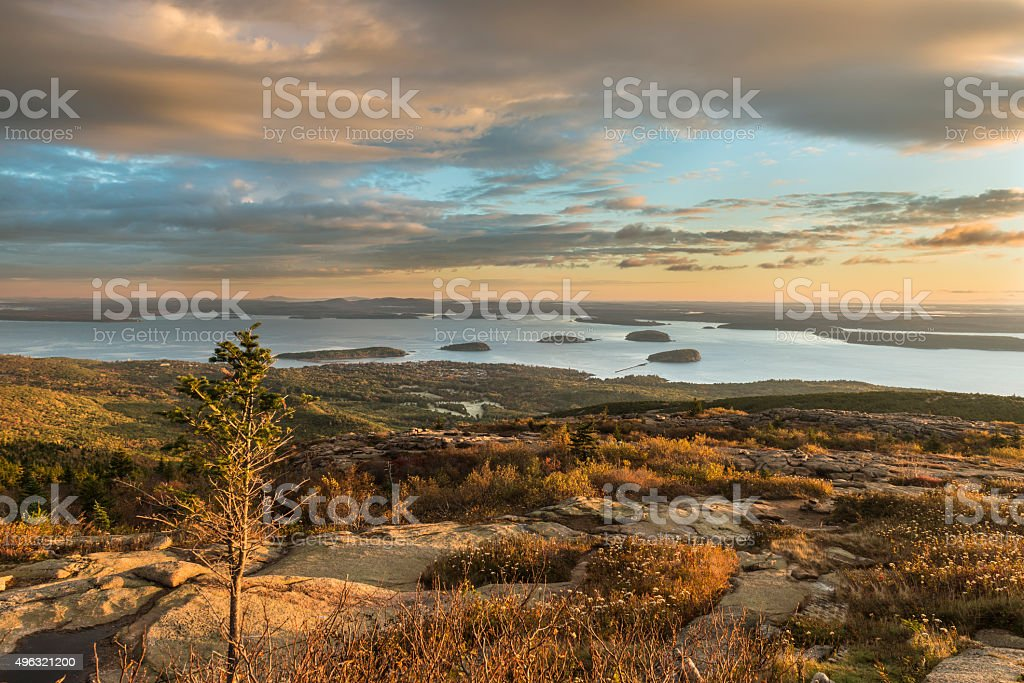 Autumn Sunrise from Cadillac Mountain in Maine stock photo