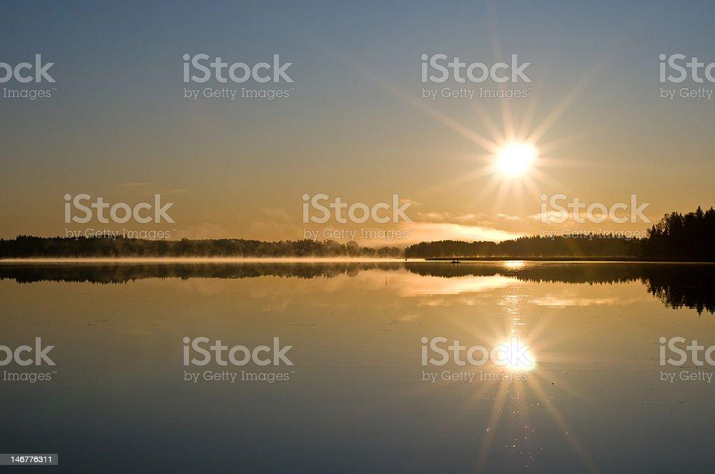 Autumn sunrise in Finland stock photo