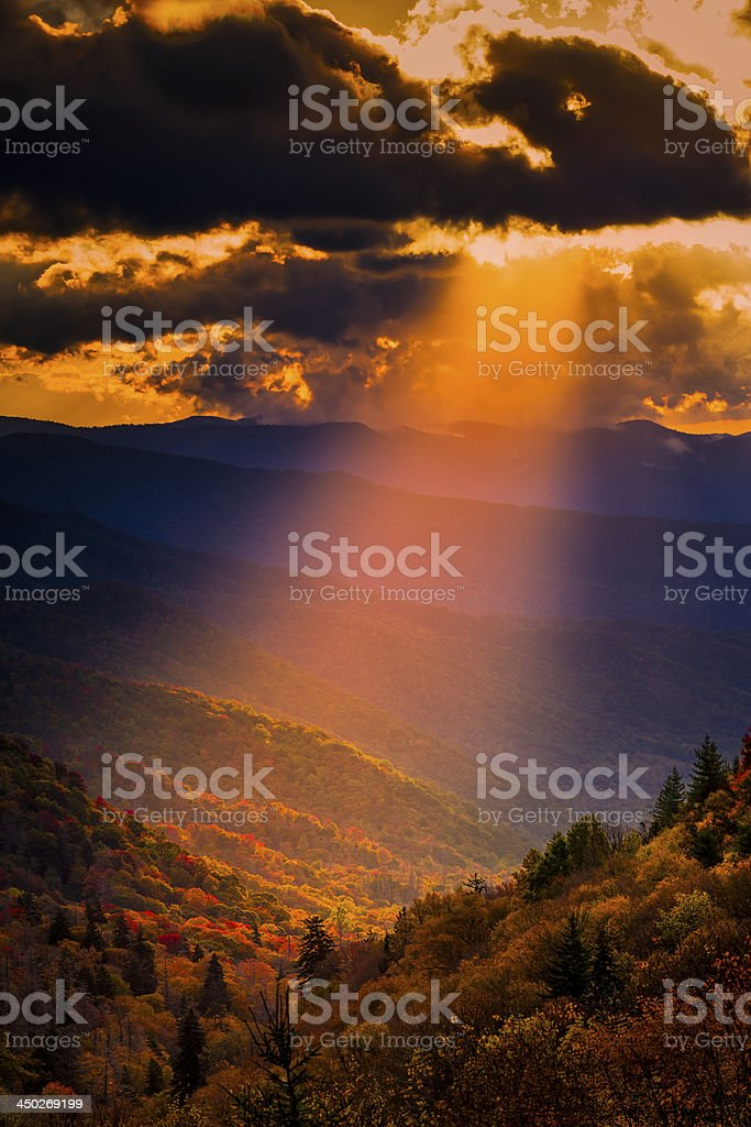 Autumn Sunrise in the Smokies royalty-free stock photo