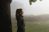 Autumn sunrise miost landscape Russian outdoor girl