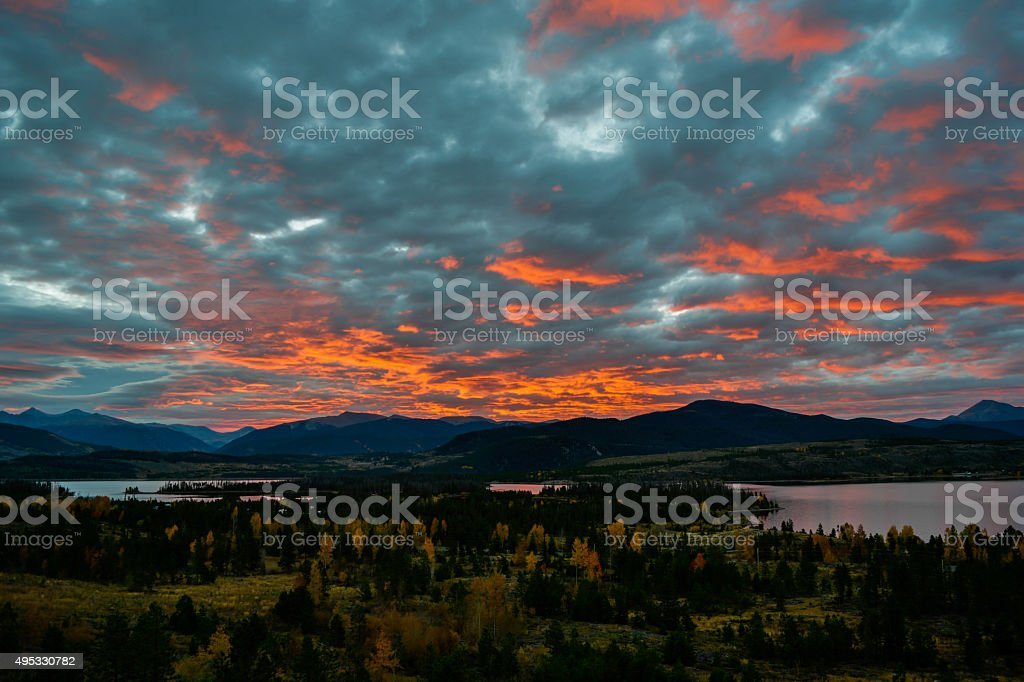 Autumn sunrise over Lake Dillon stock photo