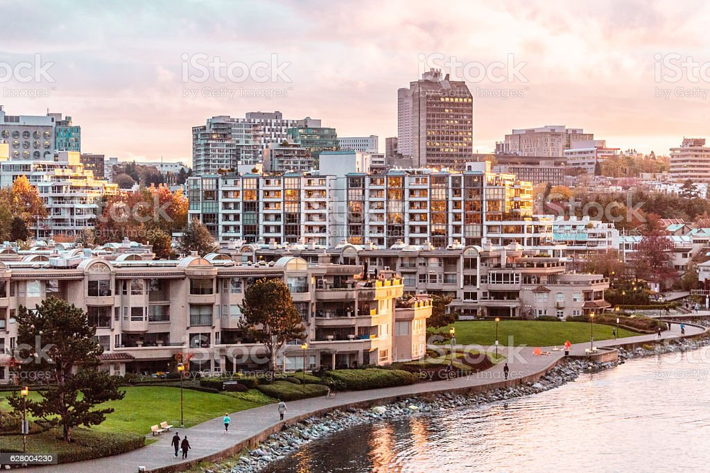 Autumn Sunset at False Creek in Vancouver, Canada stock photo