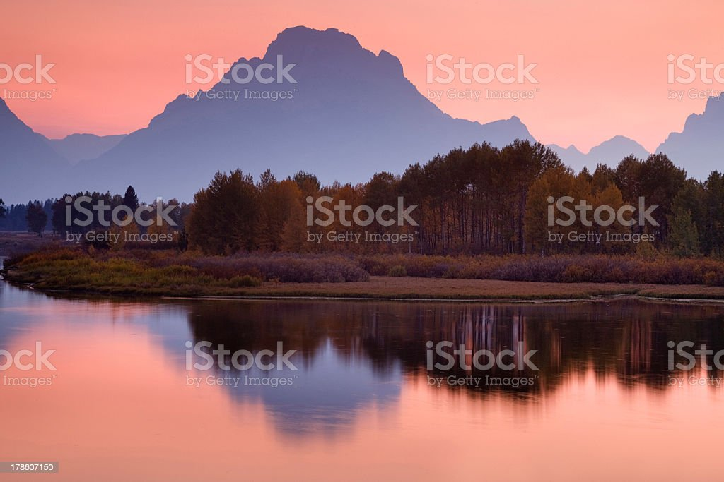 Autumn sunset at Oxbow Bend royalty-free stock photo